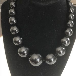 Necklace Simple Black Beads Various Size
